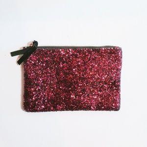Burgundy glitter makeup bag